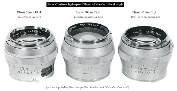 the three Planar f/1.4 calculated for Contarex cameras: to the left, the first 58mm prototype; to the right, the 55mm production model; in the middle, the only existing 50mm prototype based on the scheme by Lange. Following are the schematics from their original patents. It is possible to note the longer optical core and the higher refraction of the front doublet, different from the single lens featured in the other versions. Many thanks to Jürgen Kuc for sharing the picture of these extremetely rare items.
